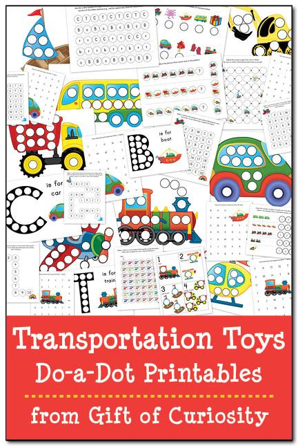 Transportation Toys Do-a-Dot Printables with 29 pages of do-a-dot worksheets featuring cars, trucks, buses, construction vehicles, trains, planes, helicopters, and boats || Gift of Curiosity