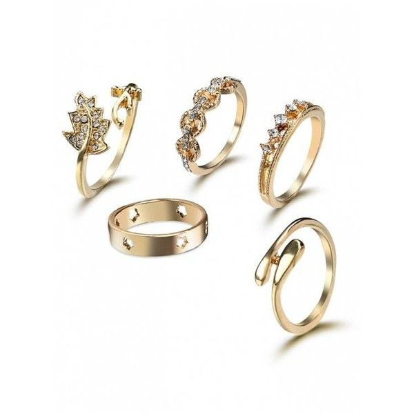 Rhinestone Star Leaf Cuff Ring Set Golden (1.265 HUF) found on Polyvore featuring women's fashion, jewelry, rings, cuff ring, golden jewelry, leaves ring, rhinestone jewelry and star ring
