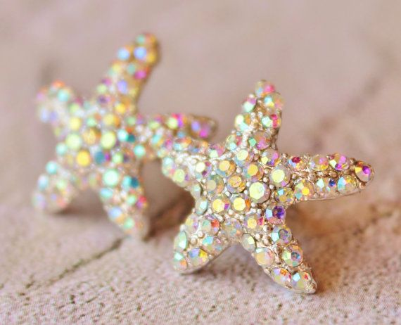 Sparkling Starfish Stud Earrings,Crystal AB Rhinestone Starfish,Ocean,Beach Wedding,Bridal,Nautre,Rhinestone Stud Earrings,Northern Lights | hangingbyathread1 Etsy Shop