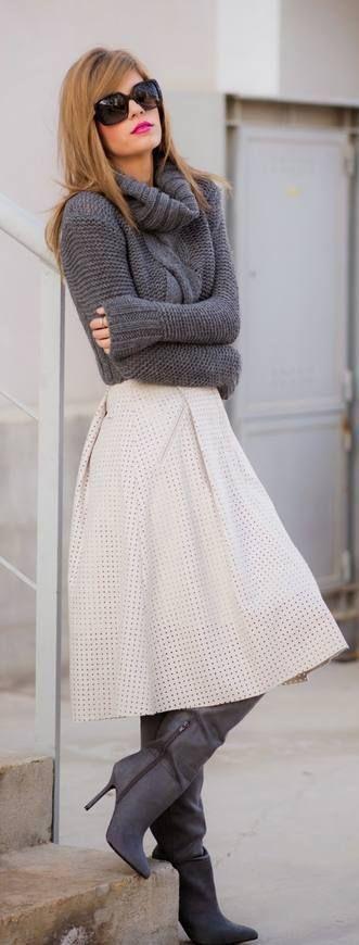 Incredible turtleneck sweater midi skirt