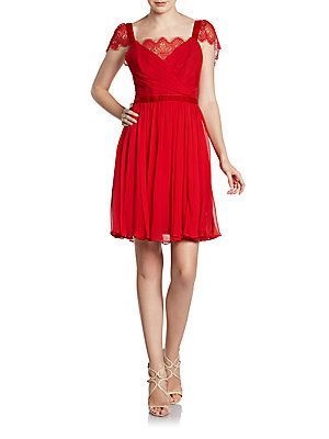 Lace Cap Sleeve Cocktail Dress