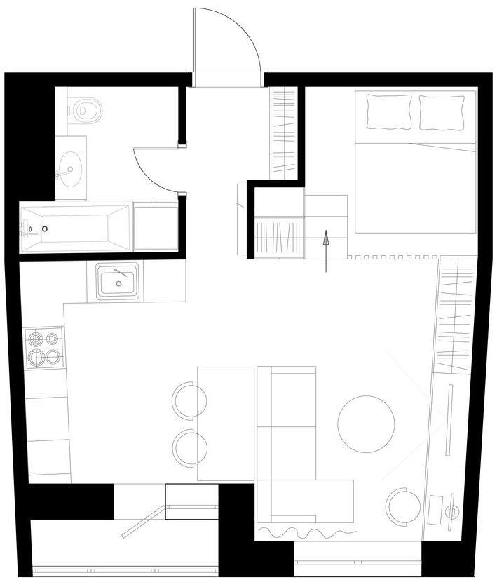 Alaprajz - Egyszobás lakás remek háló kialakítással, kellemes, nyugodt, egységes dekoráció és praktikum 37m2-en