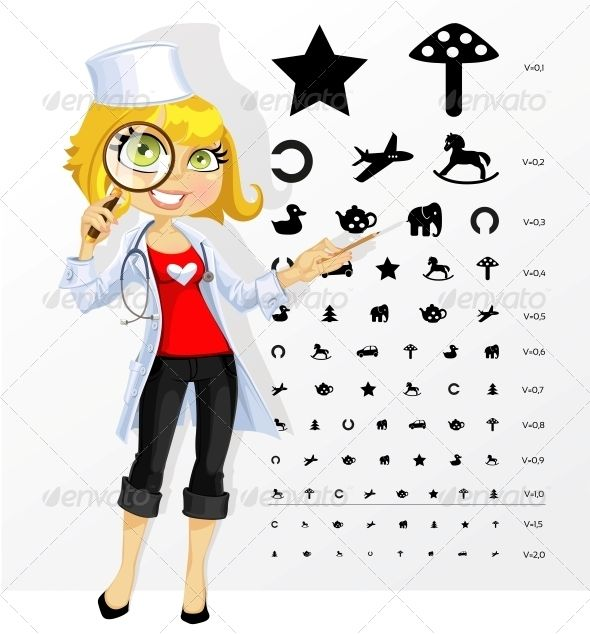 Doctor Ophthalmologist with Children`s Eye Test