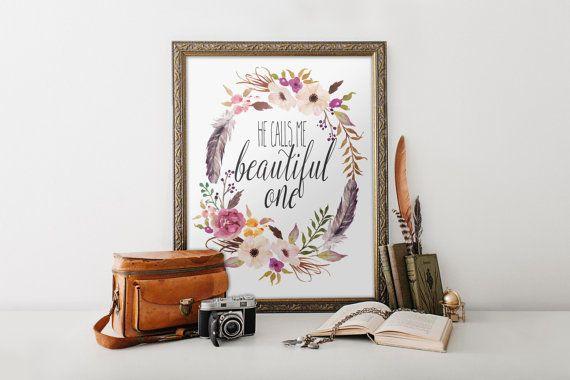 He calls me beautiful Printable verses Song of Solomon Bible Verse Art print calligraphy wall art decor inspirational quote Printable BD-310