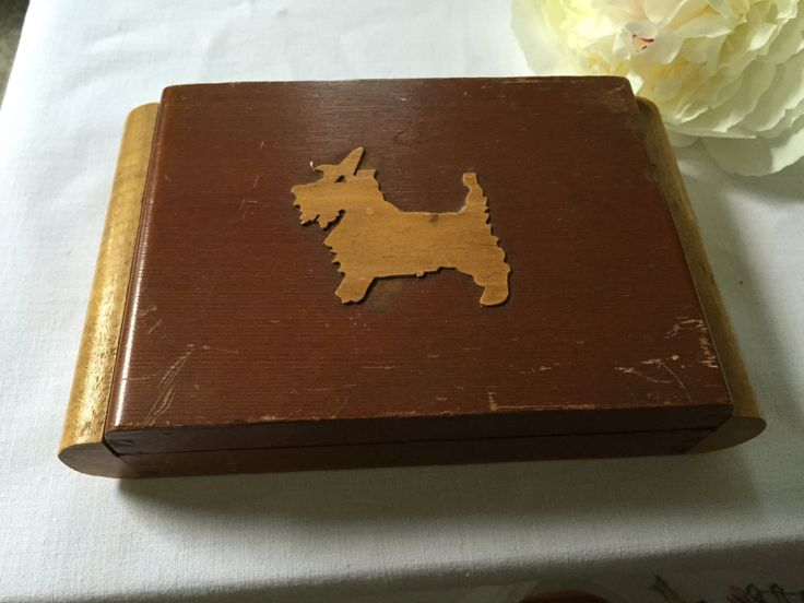 Vintage Wooden TRINKET BOX Terrier DOG Box Charming Vintage Art Deco  Made of Light Wood Two Tone Unique  Trinket Box Jewel Box Card Box by StudioVintage on Etsy