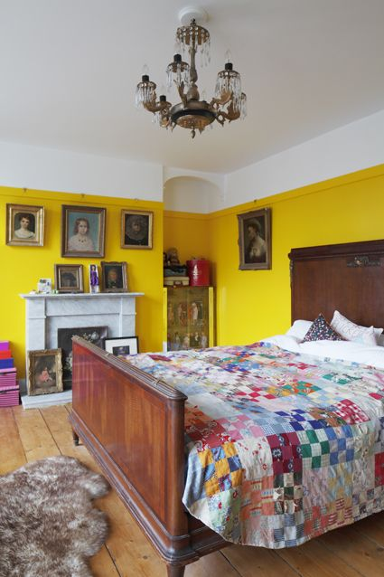 Yellow bedroom in Georgian Home, photo by James Balston