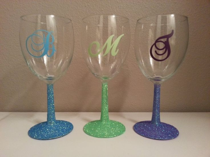 Glittered wine glass stems i made these by brushing on a for Thin stem wine glasses