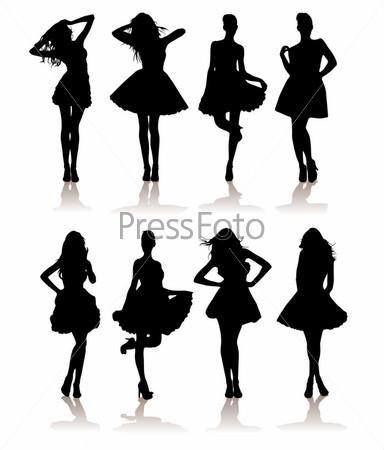 Силуэты девушек в платье