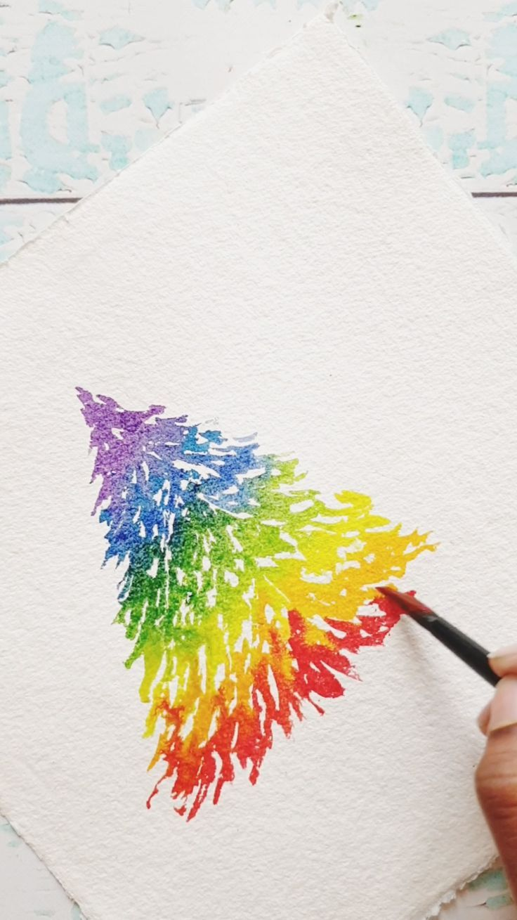 Create A Quick And Easy Watercolor Rainbow Christmas Tree From