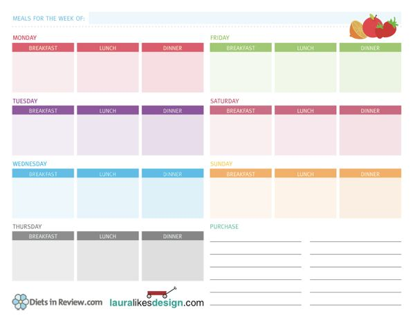 Free printable weekly meal plan worksheet | Nutrition ...