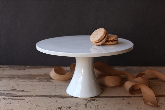 """Just right. Minted, Round Ceramic Cake Stand (12"""" x 6.25""""), $29."""
