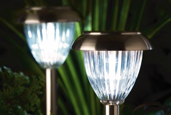 Pair of Solar Powered Garden Lights - stainless steel and glass lights, perfect for accent lighting. £19.99