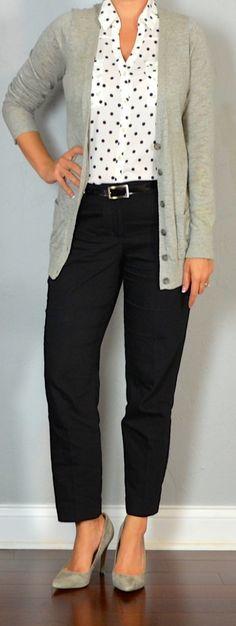 outfit post: polka-dot blouse, grey boyfriend cardigan, black editor ankle pants…
