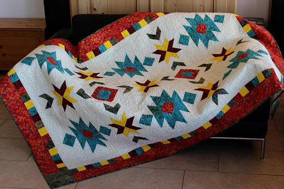 Southwest quilt pattern throw size: 52 in. x 76 in.