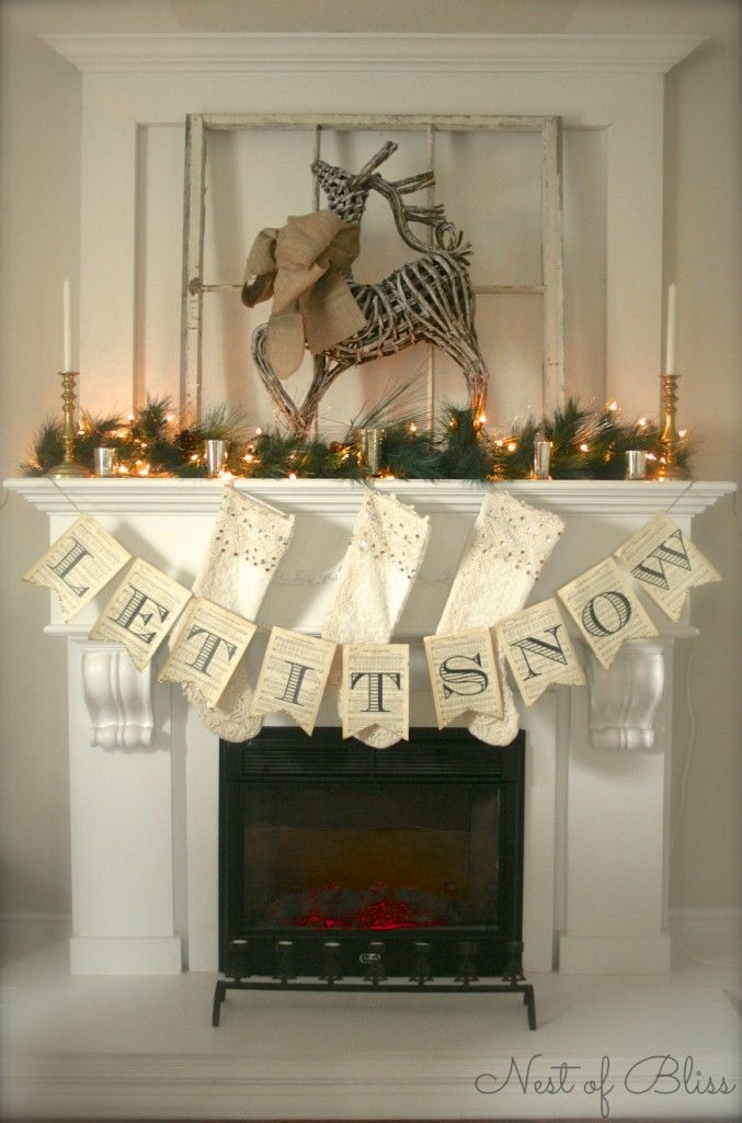 #89 Reindeer Christmas Mantel - HomeGoods Design Happy Blog - Holiday Home - (first) Link Party - Holiday Highlights