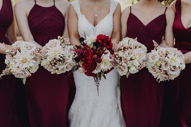 North Texas Wedding Florist Dfw Florist Rosemary Barn Wedding David Co Wedding Florals Bridesmaid Bouquet Bride Bouquet Maroon Wedding Marsala