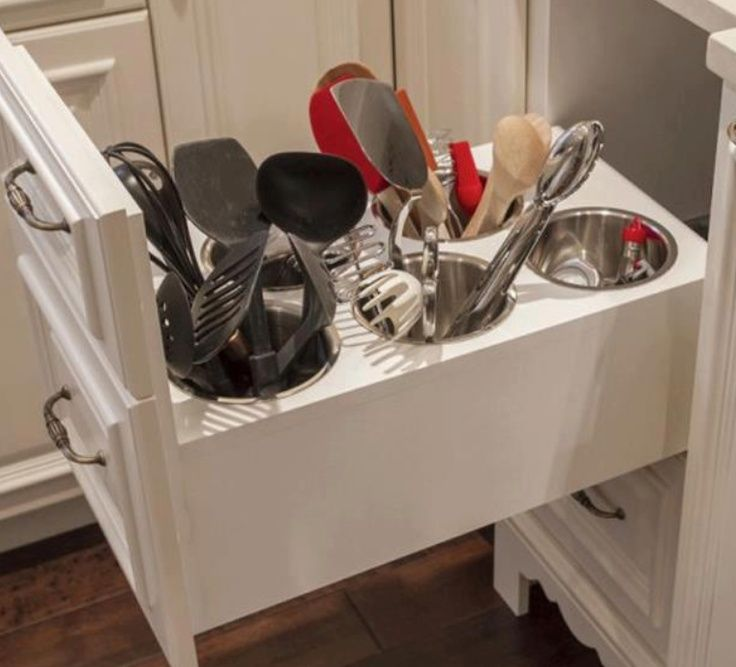 Kitchen utensil drawer. One near stove for cooking (flat spatulas, wooden spoons, tongs, etc) and one in island for food prep (whisks, rubber spatulas, can opener, citrus press, mincer, etc)
