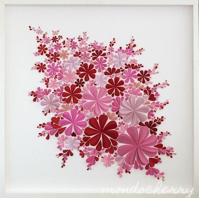 cadre fleurs 3 D rose et rouge