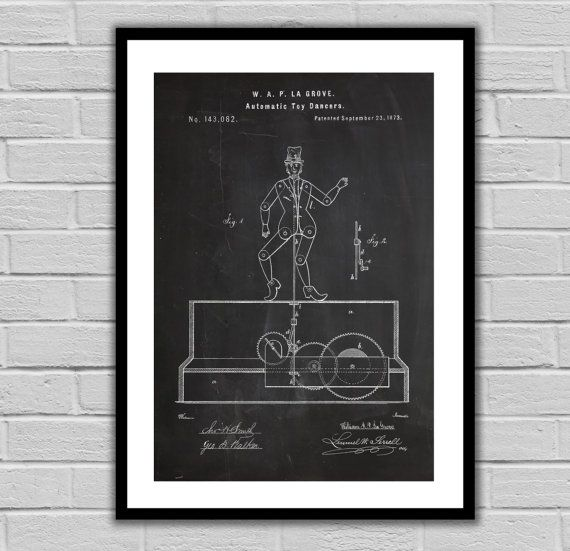 Autonomic Toy Dancer Patent, Dancing Toy Poster, Dancing Toy Blueprint,  Dancing Toy Print, Dancing Toy Art, Dancing Toy Decor by STANLEYprintHOUSE  3.00 USD  We use only top quality archival inks and heavyweight matte fine art papers and high end printers to produce a stunning quality print that's made to last.  Any of these posters will make a great affordable gift, or tie any room together.  Please choose between different sizes and col ..  https://www.etsy.com/ca/listing/462311..