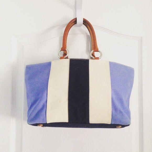 "Banana Republic Blue Cotton Tote Bag Banana Republic Tote Bag  ·         Blue ·         Cotton ·         Leather trim ·         Foot pedestals ·         Matching zipper pouch ·         Zipper pocket inside ·         ***a little dirty from use ·         Measures 16""x4.5""x8"" ·         Strap 6.5"" Banana Republic Bags Totes"