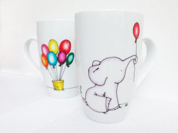 Elephant with Balloons, Hand Painted Porcelain Coffee/Tea Mug, Personalized mug, Housewarming gift Custom Designed Mug Birthday Gift, Pastel