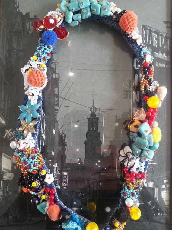 Kleurrijke kraag kralen geborduurd bloemen en door JackysJewels