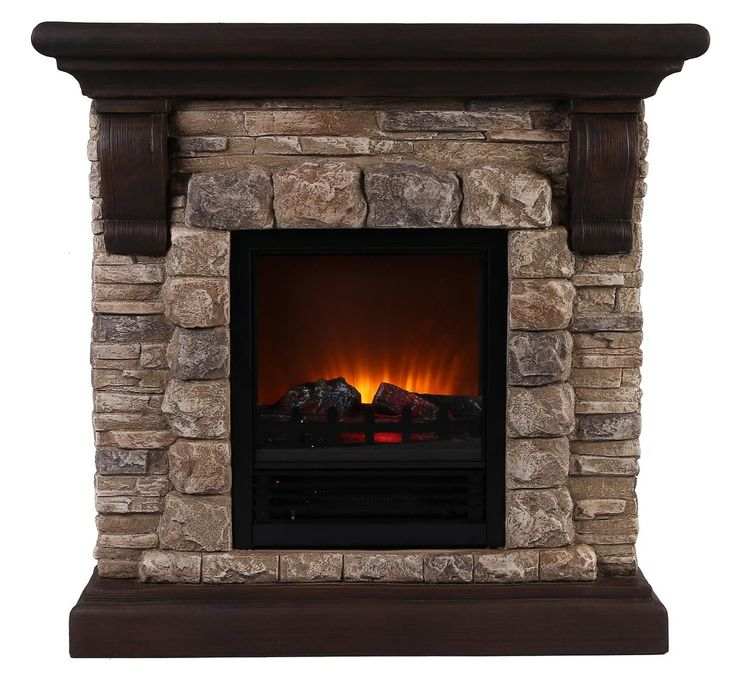 Features:  -Material: Polyresin.  -High quality and stylish.  -Faux Stone.  -Can accommodate a TV once secured properly.  -Sound functions included: No.  Product Type: -Fireplace.  Style: -Rustic.  Fi