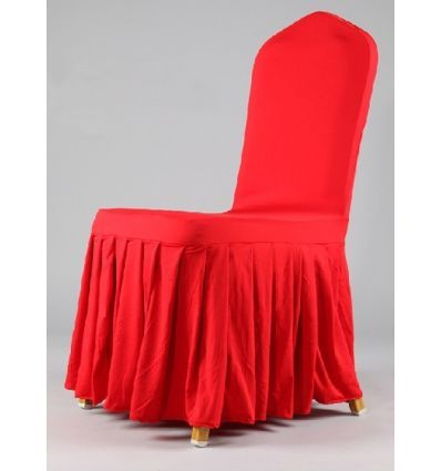 Red Printed satin Wedding chair cover