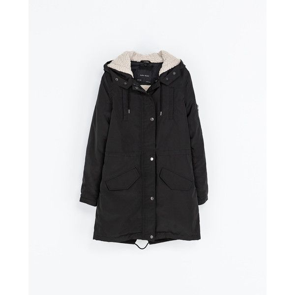 Zara Parka With Hood ($80) ❤ liked on Polyvore featuring outerwear, coats, jackets, zara, black, fur-lined parkas, parka coat, fur-lined coats, hooded parka and hooded coat