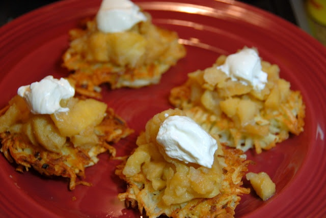 ... Food: Potato Latkes with Roasted Applesauce and Sour Cream fo