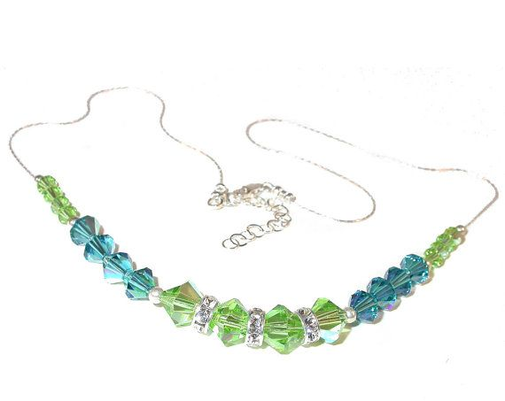 Swarovski Elements Peridot Crystal ''Simona'' Necklace - Ideal Gift for Women and Girls - Comes In Gift Box gcKJM