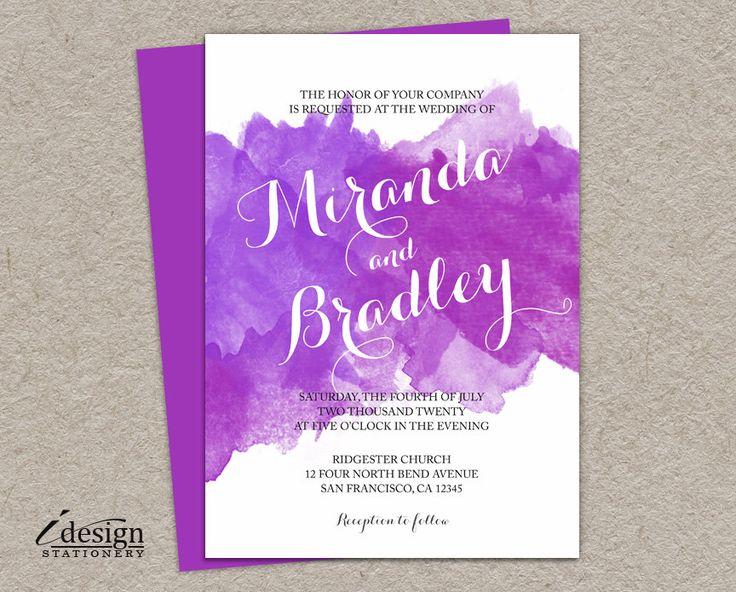 DIY Watercolor Wedding Invitation Printable Purple And Lilac Ombre Watercolour Invitations
