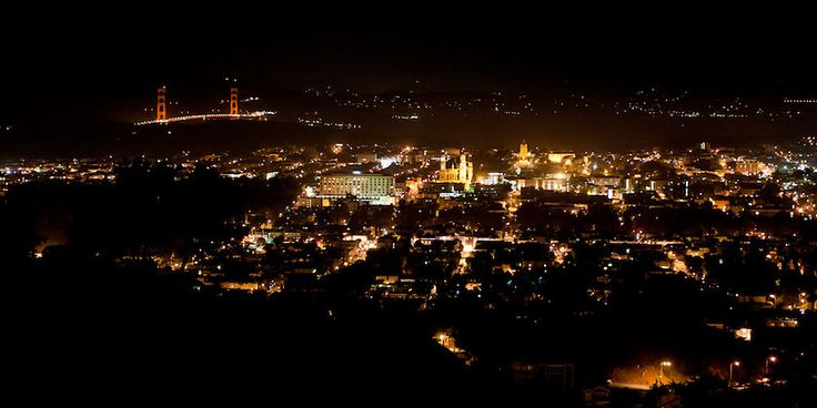 View of San Francisco and the Golden Gate Bridge from Twin Peaks at night.  | five|one|nine photography