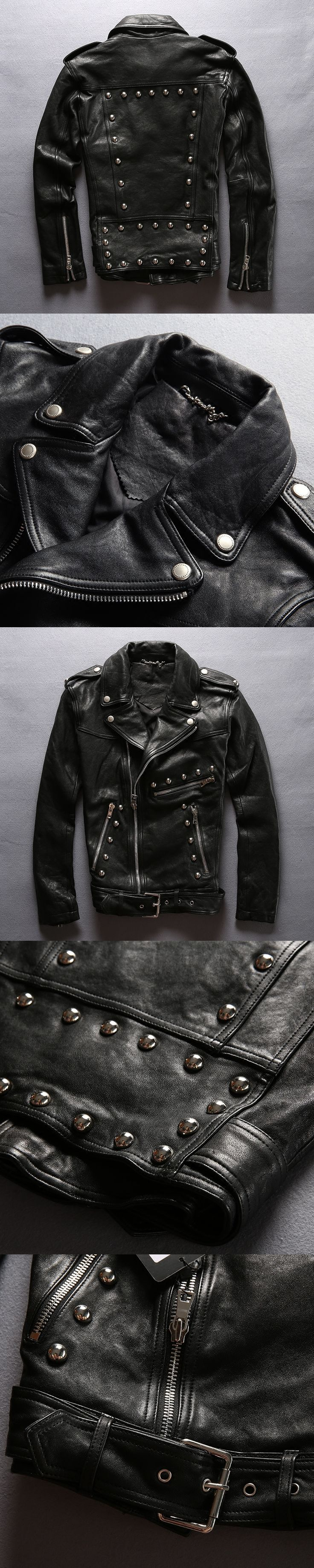 Fashion rivet slim fit leather motorcycle jacket men tight style black sheepskin moto biker jacket for men punk leather coat men