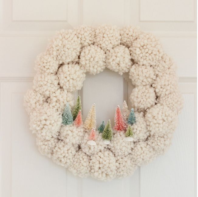 Pom Pom bottle brush wreath from Shades of Blue Interiors