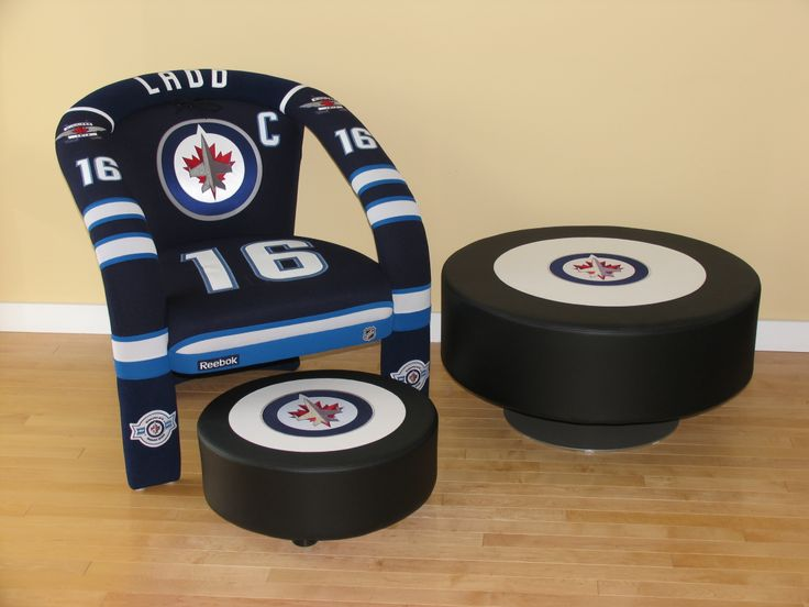 Andrew Ladd sports chair, table ottoman and footstool