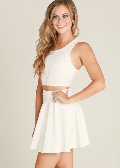 White Sleeveless Crop Top Amp Flared Skirt Two Piece Dress
