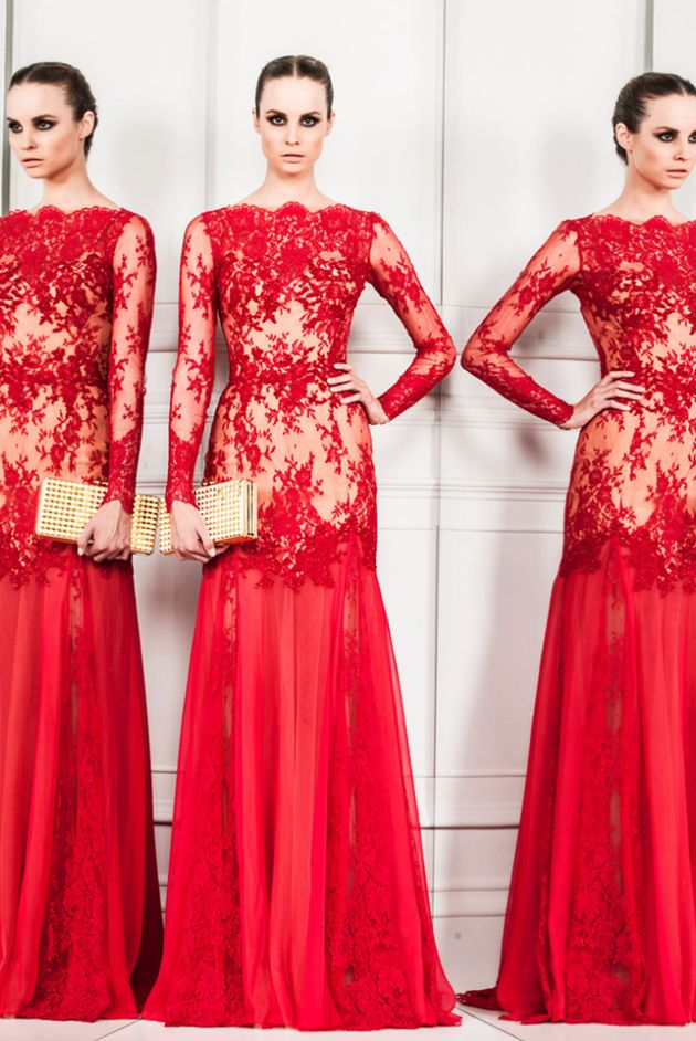Stunning red lace gown by Zuhair Murad