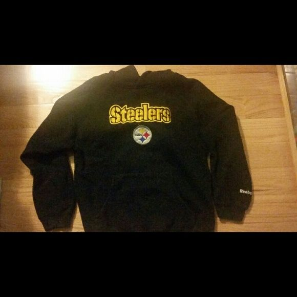 Three Pittsburgh Steelers Sweatshirt Hoodies Three Black Steelers Sweatshirt Hoodies by Reebok  $15 each Child Size Medium 8-10  Very good condition  Smoke free home Reebok Other