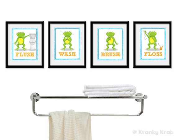 For the kids bathroom.  Frog Bathroom Decor  Set of Four Bathroom Decor by krankykrab, $32.00