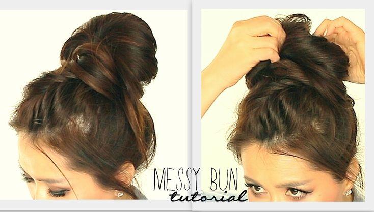 ★ BIG MESSY BUN CROWN BRAID TUTORIAL   CUTE SCHOOL HAIRSTYLES FOR MEDIUM LONG HAIR   UPDOS PROM
