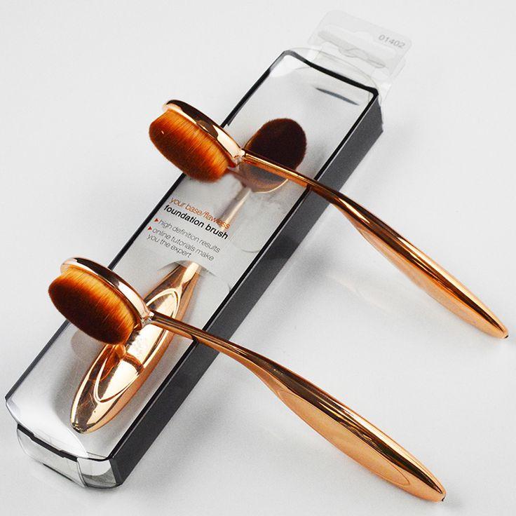 1 unids Forma cepillo de Dientes de Calidad de Oro y Plata Mango Pelo Super Fino Polvo de Maquillaje Cepillo de la Fundación