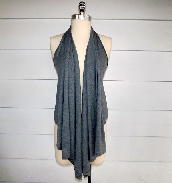 From Wobisobi: Re-Style#54, Five Minute Draped Vest #2. You could also wear this as a halter top by pinning the two front panels together in three or four places.