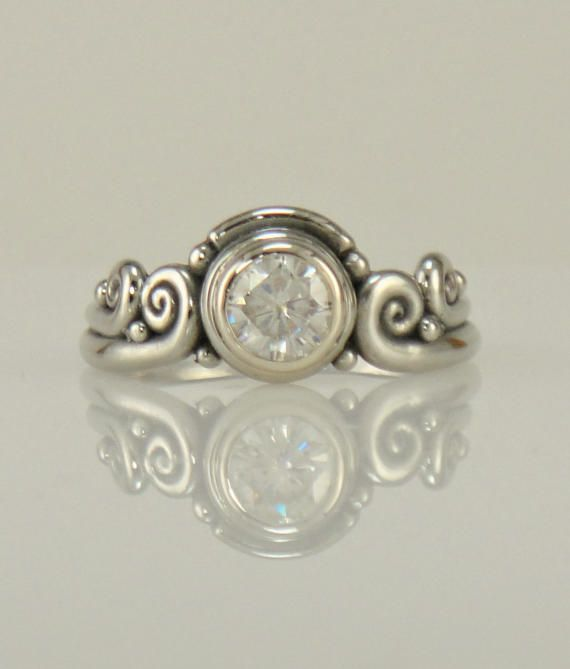 R1082 14k White Gold Moissanite Ring One of a Kind