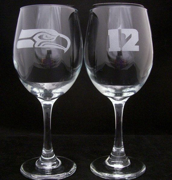 Seattle Seahawks 12th Man Wine Glasses birthday by Etchddreams, $20.00