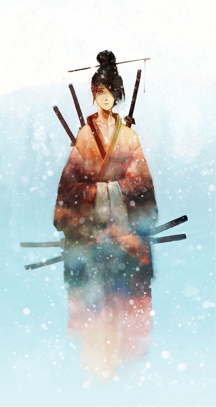 """ArtStation - Fubuki no Onna-Bugeisha  """"Combining two fascinations of mine: Onna-bugeisha (female samurai) and snow. I wanted to do something a little quieter, not as frenetic or messy, something a little more serene."""" - Aaron Nakahara"""