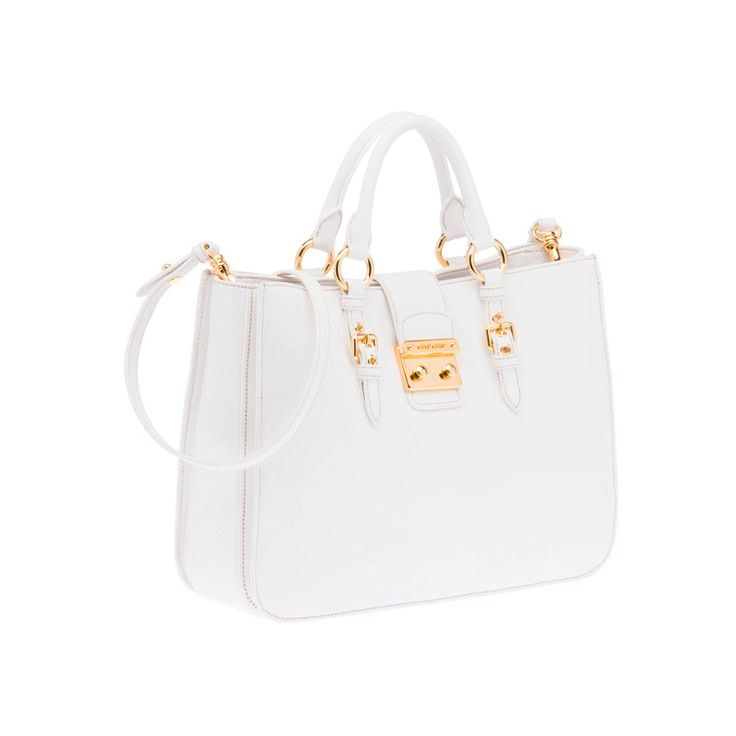 Miu Miu RN0797 2AJB F0009 Madras Top Handle – White