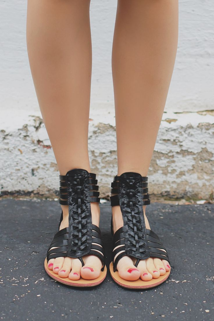Your Rebellious Ways will be nothing to compete with when you're struting your way in these strappy sandals. They are a pair of faux leather, flat sandals featuring a woven strappy upper and a zipper