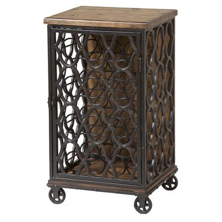 Wood-top wine rack with a latticework frame and castered feet.   Product: Wine rackConstruction Material: Wood a...