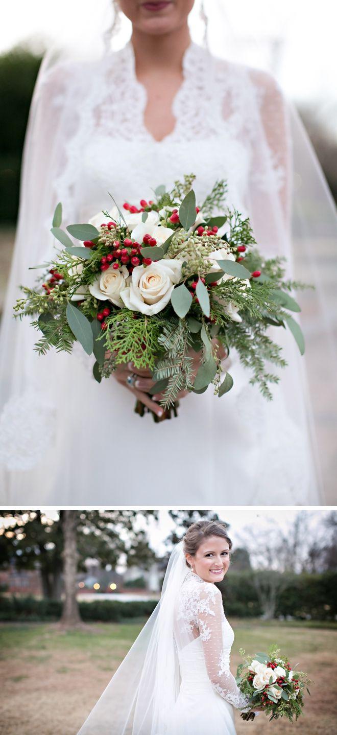 Creative Christmas Wedding by Jennifer Stuart Photography.... Like the flowers